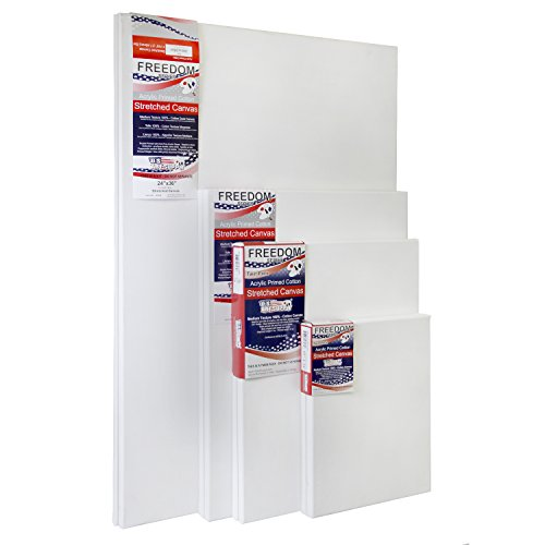 US Art Supply Professional Quality LARGE 12oz Primed Gesso Stretched Canvas Multi-pack - (This