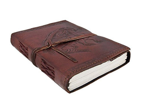 Dios Embossed Dragon Leather Journal, Leather Journal for Men and Woman with Leather Cord, (Size 3.5 by 5 Inches)