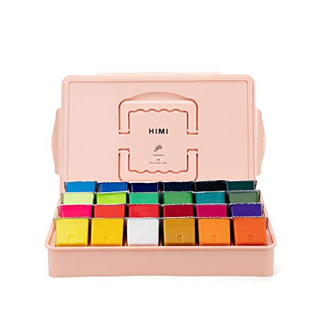 MIYA HIMI Gouache Paint Set 24 Colors/Four Colors (80ml/Pc) Paint Set Non Toxic Paints for Artist, Hobby Painters & Kids, Ideal for Canvas Painting for Novelty Gift (Pink)