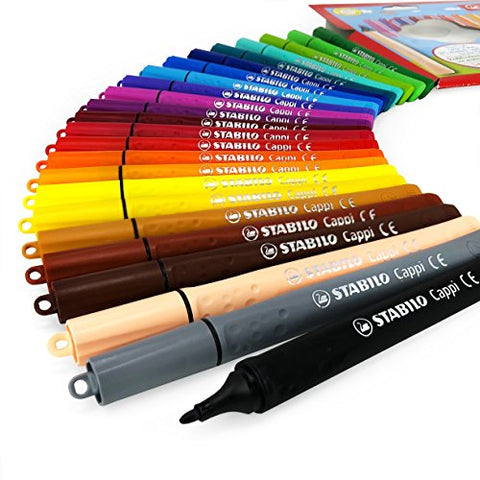 Stabilo Cappi Fibre Tip Felt Tip Pens – Wallet of 24 Assorted Colours