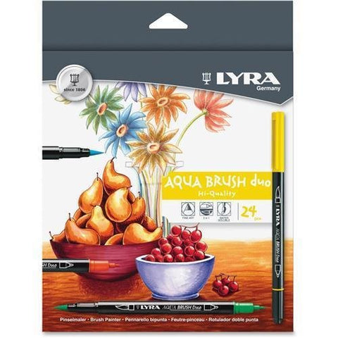 6521240 LYRA Dual Tip Marker, Assorted, 24 per Pack - Fine, Broad Marker Point Type - Brush