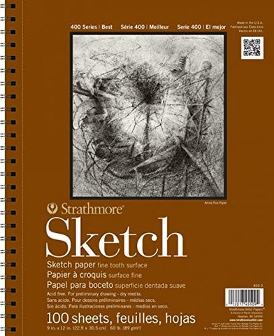 "2-Pack - Strathmore 400 Series Sketch Pad, 11""x14"" Wire Bound, 100 Sheets Each"