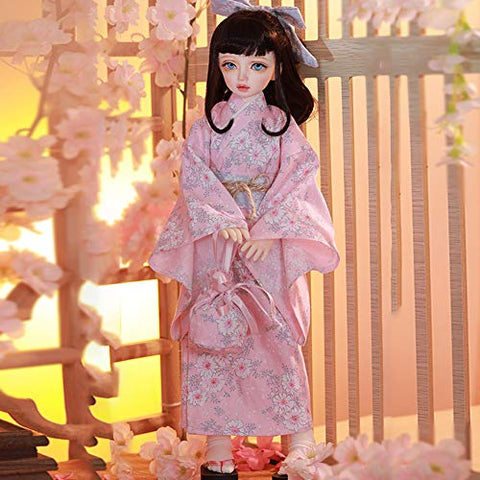 BJD Doll 1/4 SD Japanese Style Girls Dolls DIY Cherry Sakura Kimono Toys with Full Set Clothes Shoes Wig Makeup Gift for Girls
