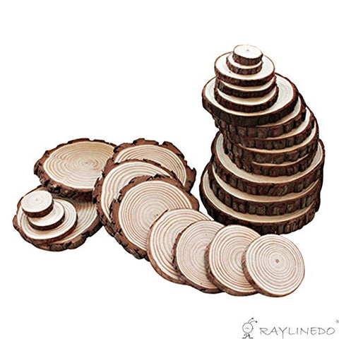 RayLineDo Unfinished Natural Wood Slices Round Log Discs with Tree Bark Wood Pieces 5-6cm Pack of 20 for DIY Craft Wedding