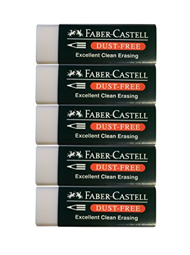 Faber-Castell Pencil Eraser, dust free (Excellent clean erasing) , Pack of 5
