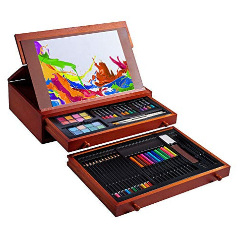 Vigorfun 99 Piece Deluxe Art Set - Art Supplies in Wooden Case with Sketchpad 12 Color Pencils 24 Oil Pastels 2 Brushes 20 A4 Paper for Kids Teens Adults Painting and Drawing