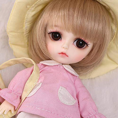 BJD Spherical Joint Doll 16 cm Princess DIY Dress Up Makeup Toy Movable Joints and Clothes+Wig+Shoes+Socks Birthday Gift for Girls Noa,Pink Skin