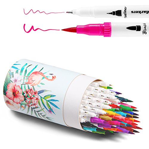Ohuhu Art Markers Dual Tips Coloring Brush Pen & Fineliner Color Pens, 60  Colors of Permanent