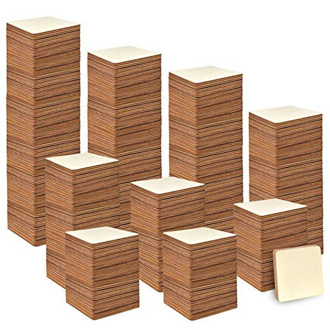 Coopay 240 Pieces Unfinished Wooden Square Blank Natural Wood Slices Wooden Cutout Tiles for DIY Crafts, Painting, Wedding, and Home Decoration, 1 Inch