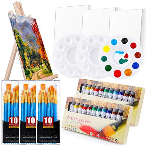 Acrylic Painting Set with 1 Wooden Easel 3 Canvas Panels30 pcs Nylon Hair Brushes 3 PCS Paint Plates and 2 PCS of 12ml Acrylic Paint in 12 Colors for Acrylic Painting Artist Professional Kit