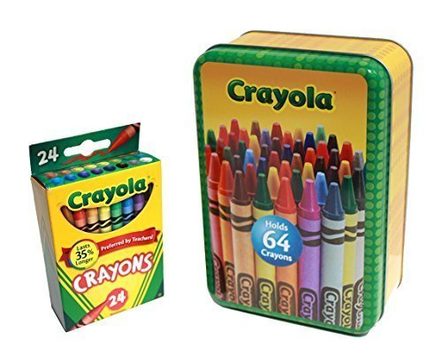 Large Crayola Storage Tin and Box of 24 Crayola Crayons (2 Item Bundle)