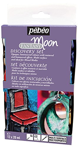 Pebeo Fantasy Moon Discovery Set of 12 Assorted 20ml Hammered Effect Colors