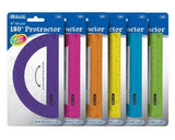 "BAZIC Assorted Color Semicircular 6"" Protractor"