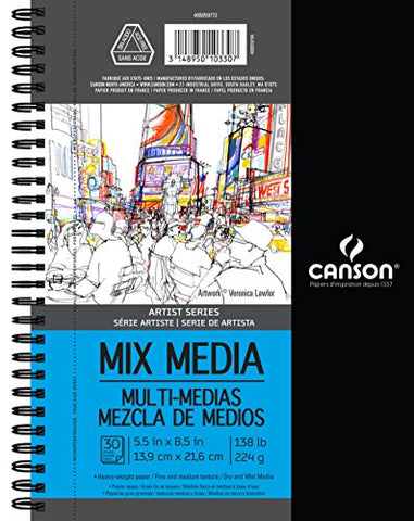 Canson Artist Series Mix Media Paper Pad for Wet or Dry Media, Dual Surface- Fine or Medium, Side