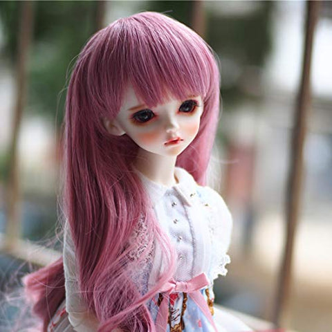 HMANE BJD Doll Wig, Large Curly Hair Neat Bangs Wig for 1/3 BJD Dolls - Dark Pink (No Doll)