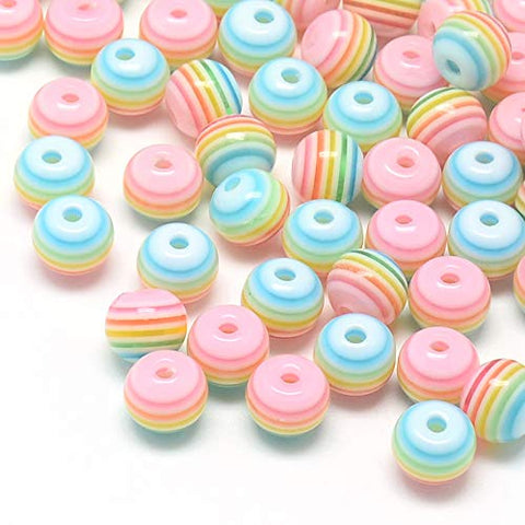 Pandahall 100pcs 8mm Round Rainbow Striped Acrylic Resin Chunky Beads Lined Candy Bubblegum Beads for Jewelry Makings