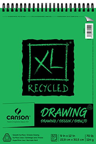 Canson XL Series Recycled Drawing Paper Pad, Top Wire Bound, 70 Pound, 9 x 12 Inch, 60 Sheets