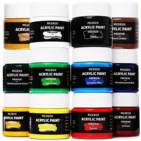MEEDEN Acrylic Paint Set, 12×100ML(3.33 oz) Non Toxic Vibrant Colors for Canvas, Fabric, Crafts, and More for Artist Beginner and Students