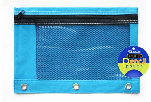 BAZIC Bright Color 3-Ring Pencil Pouch w/ Mesh Window (BLUE)