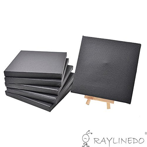 RayLineDo Set of 6pcs Mini Artist Black Canvas Frame 6x6inch ( 15x15cm ) Oil Water Painting Board
