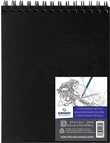 Canson Comic Manga Sketch Art Book Paper Pad, Top Wire Bound, 65 Pound, 8.5 x 11 Inch, 80 Sheets