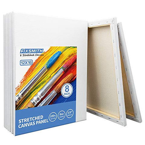 FIXSMITH Stretched White Blank Canvas - 12 x 16 Inch, Bulk Pack of 8, Primed, 100% Cotton, 5/8 Inch Profile of Super Value Pack for Acrylics,Oils & Other Painting Media.