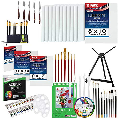 U.S Art Supply 92-Piece Deluxe Acrylic Painting Set with Aluminum Tabletop Easel, 24 Acrylic Colors, Acrylic Painting Pad, Stretched & Canvas Panels, Brushes & Palette Knives