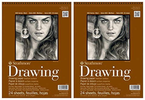 "2-Pack - Strathmore 400 Series Drawing Pad, 9""x12"" Wire Bound, 24 Sheets Each"