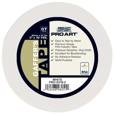 Pro Art 2-Inch by 30-Yards Gaffers Tape, White