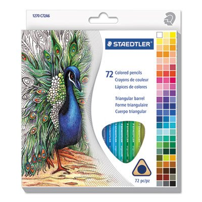 Staedtler Mars Triangular Colored Pencil Set, H/#3, 2.9mm, 72 Assorted Colors 1270C72A6