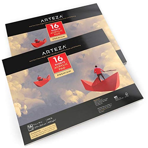 "ARTEZA 11x14"" Acrylic Pad, Pack of 2, 32 Sheets (246lb/400gsm), 16 Sheets Each, Glue Bound Artist"