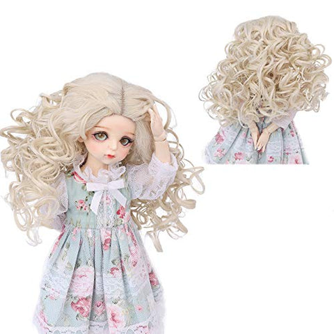 AIDOLLA BJD Doll Wig 1/6 SD Dolls 12 Inch Girls Gift Temperature Synthetic Fiber Long Curly Synthetic Hair