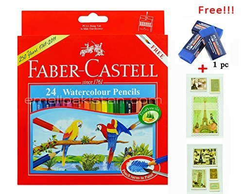 Watercolor Pencil Faber Castell 24 Color Best Colored Pencil for Adult Coloring Book with Free