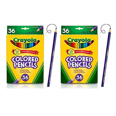 Colored Pencils Set for Adult Coloring Books or Kids 4 and Up, 36 Premium Quality (2 Pack)