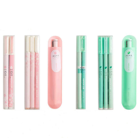 Vience 0.5mm/0.38mm black ink Mint green and sakura pink gel ink rollerball pens with 20 pack 0.38mm black ink refills for School Office(12pack rollerball pens+20pack refills)
