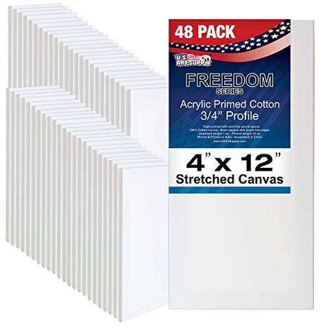 US Art Supply 4 x 12 inch Professional Quality Acid Free Stretched Canvas 48-Pack - 3/4 Profile 12 Ounce Primed Gesso - (1 Full Case of 48 Single Canvases)