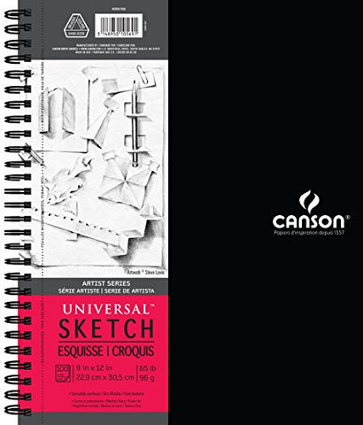 Canson Artist Series Universal Paper Sketch Pad, for Pencil and Charcoal, Micro-Perforated, Side