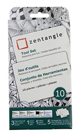 Zentangle Tool Set 10Pc-White Tiles by Sakura