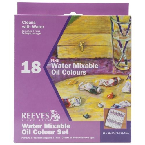 Reeves 12-Milliliter Water Mixable Oil Color Set, 18-Pack