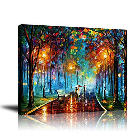 Unframed Couple Canvas Wall Art Print, Contemporary Abstract Colorful Oil Paintings, Romantic Lovers Stroll in Rain Pictures, for Livingroom Bedroom Office Home Decorations, Ready to Hang 16x20 Inch