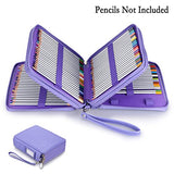 BTSKY 120 Slots Pencil Case - PU Leather Handy Large Zipper Pencil Organizer with Handle Strap