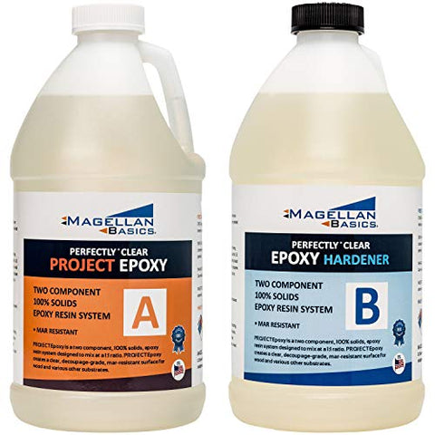 Magellan Basics Perfect Clear Bar Table Top Epoxy Resin Coating for Wood Tabletops, Skateboards, Arts & Crafts - 1 Gallon Kit