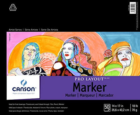 "Canson Artist Series Pro Layout Marker Pad, 14"" x 17"", Fold-over Cover, 50 Sheets (100511049), 14""X17"""