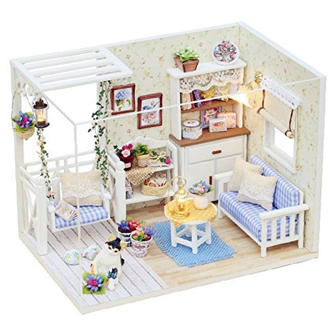 Spilay DIY Miniature Dollhouse Wooden Furniture Kit,Handmade Mini Home Model with Dust Cover & Music Box ,1:24 Scale Creative Doll House Toys for Children Gift(Kitten Diary) H013