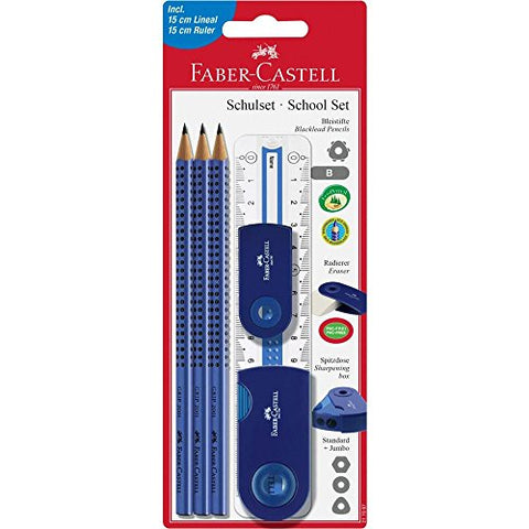 Faber Castell 217067 Large Pencil-Set with Ruler - Blue