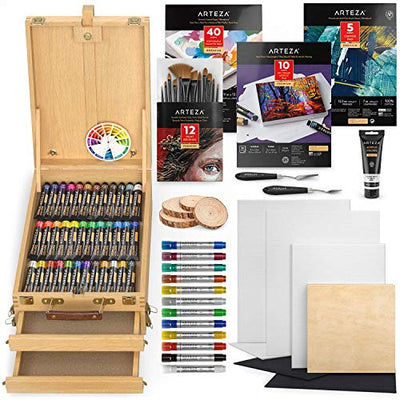 Arteza Acrylic Painting Art Set, Includes Acrylic Paint Set, Acrylic Markers, Easel, Canvases, Foldable Acrylic Pad, Palette, Brushes, Wood Slices, and More, Art Supplies Kit for Adults & Kids
