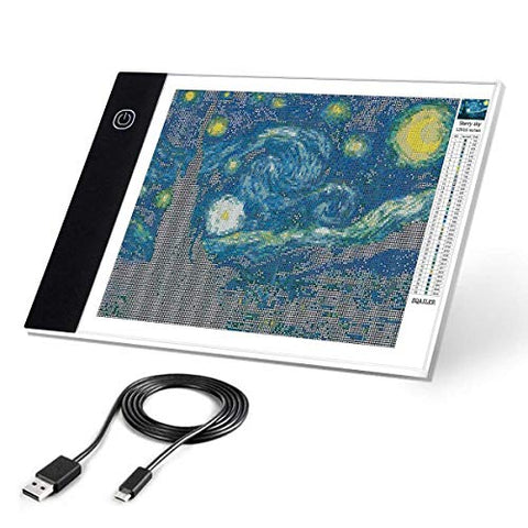 Ligtek A4 LED Light Pad for Diamond Painting - USB Powered Light Box Dimmable Brightness Light Board, Apply to Full Drill & Partial Drill 5D Diamond Painting