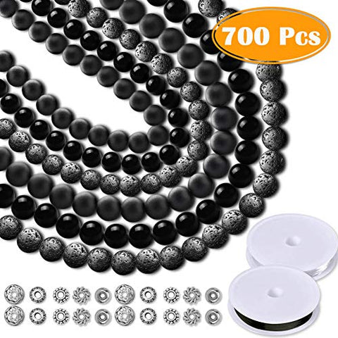 Paxcoo 700pcs Lava Beads Glass Beads Black Lava Stone Rock Beads Kit with Elastic Bracelet String