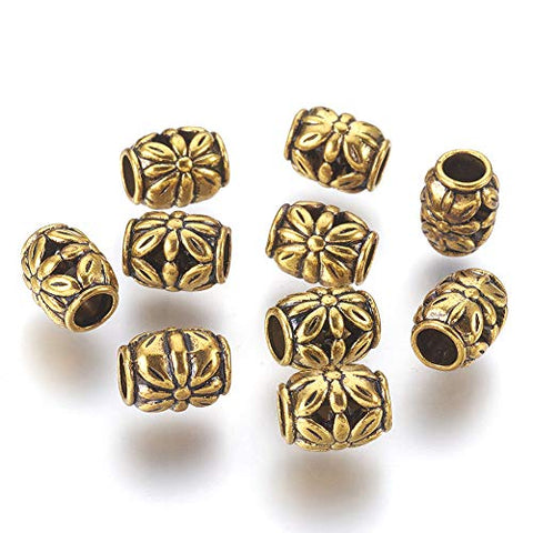 Kissitty 20pcs Tibetan Antique Golden Barrel Spacer Beads 8.5mm 0.33 inch Metal Tube Loose Beads for Bracelet Necklace Jewelry Making Cadmium Free & Nickel Free & Lead Free