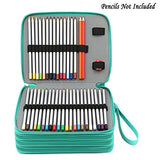 BTSKY 160 Slots Colored Pencil Organizer - Deluxe PU Leather Pencil Case Holder (Green)